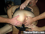 Slut Blowing Peverts in a Porn Theater